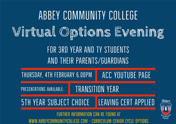 Virtual Options Evening for Senior Cycle 2021